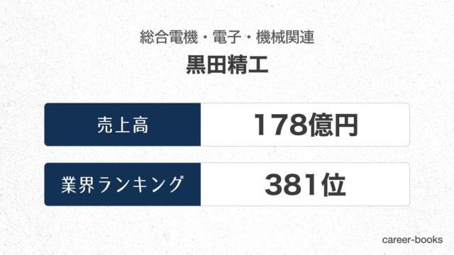 黒田精工の売上高・業績