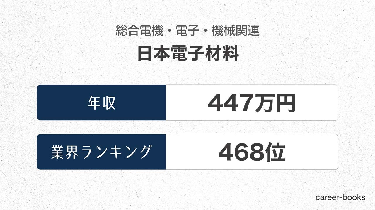 日本電子材料の年収情報・業界ランキング