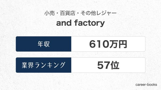 and factoryの年収情報・業界ランキング