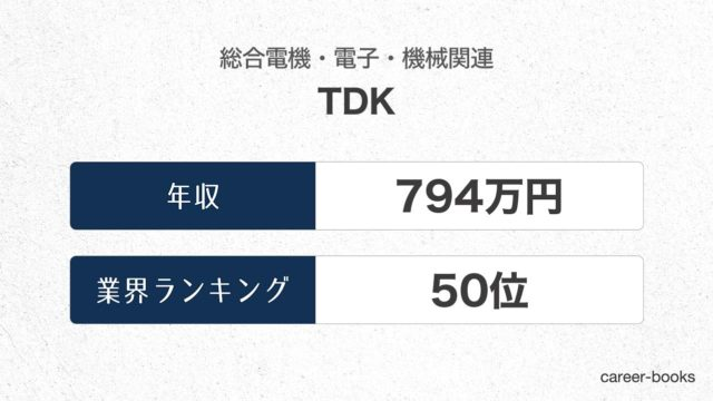 TDKの年収情報・業界ランキング
